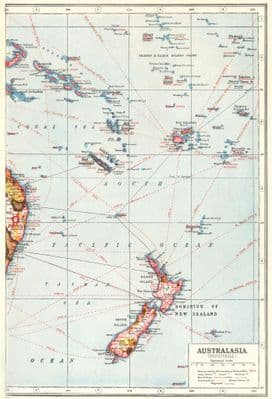 NEW ZEALAND FIJI PACIFIC ISLANDS. Industrial showing key products 1920 old map